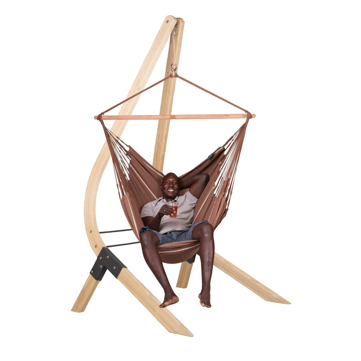 LA SIESTA - Chaise-Hamac Lounger HABANA chocolate + Support en bois VELA
